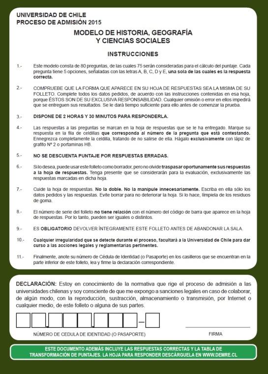 Modelo PSU Historia Demre 2015