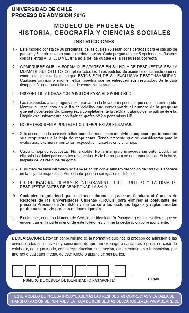 Modelo PSU Historia Demre 2016