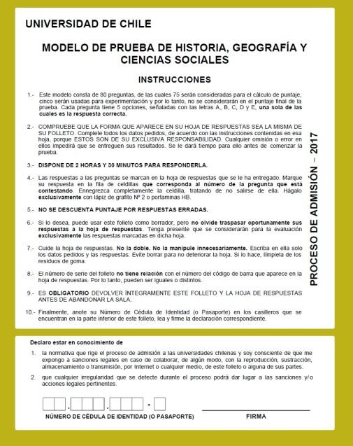Modelo PSU Historia Demre 2017